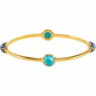 18K Vermeil Turquoise & Kyanite Bangle 7.5