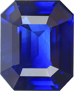 Blue Sapphire in Royal Vivid Blue Color in Emerald Cut in 9.75 x 8.07 mm, 3.37 Carats - With CDC Certificate - SOLD