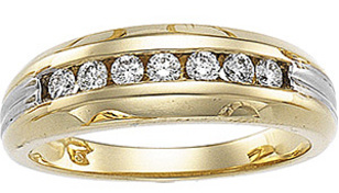 Rich 0.40 Carat Total Weight Two Tone Gents 2.50 mm Diamond Ring set in 14 karat Yellow/White gold