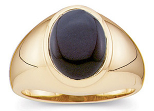Blowout on Magnificient Large Black 14x12mm Oval Shaped Onyx 14 kt Heavy Yellow Gold Ring for SALE