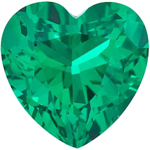 Grade GEM CHATHAM CREATED EMERALD Heart Cut Gems  - Calibrated