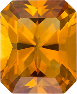 Loose Orangey Gold Citrine Natural Gemstone in Radiant Cut, 11 x 9 mm, 3.6 Carats