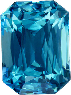Vibrant Saturated Vibrant Teal Blue Zircon Loose Cambodia Gem in Emerald Cut, 9 x 6.7 mm, 3.78 Carats