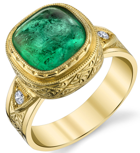 Magnificent 3.16ct Cabochon Cushion Cut Emerald 18kt Yellow Gold Hand Crafted Ring - Diamond Side Gems .05cts