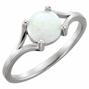 14KT White Gold 8mm Round Opal Cabochon Ring