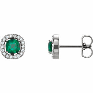 14KT Yellow Gold Chatham Created Emerald & .08 Carat Total Weight Diamond Earrings