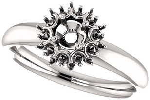 Impressive Accented Mounting for Round Shape Centergem Sized 4.10 mm to 8.00 mm - Customize Metal, Accents or Gem Type