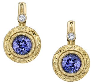 Detailed Handcrafted 6.50 mm Round Tanzanite Bezel Set Earrings in 18kt Yellow Gold - Yellow Diamond Accents
