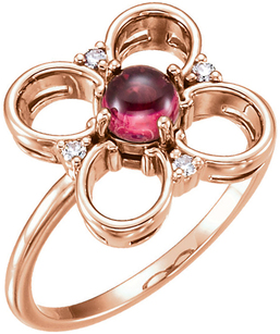 Lucky 4-Leaf Clover Ring With 5mm AA Grade Round Cabochon Pink Tourmaline Gemstone - Diamond Accents - Metal Type Options