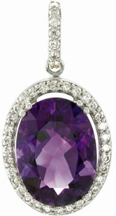 Amazing Amethyst and Diamond Studded 6.25ct 14x10mm Oval Cut Amethyst Pendant in 14 karat White Gold for SALE - FREE Chain