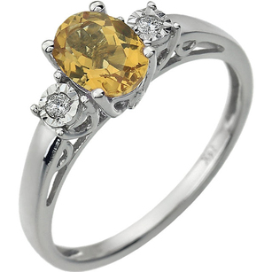 Cheerful Genuine .72ct 7x5mm Oval Citrine Gemstone 14k White Gold Ring With Diamond Accents for SALE