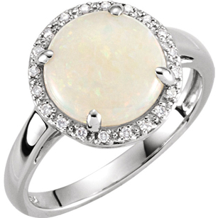 Refined 2ct 10mm White Fire Opal Gemstone Ring With Diamond Accent Halo - 14k White Gold