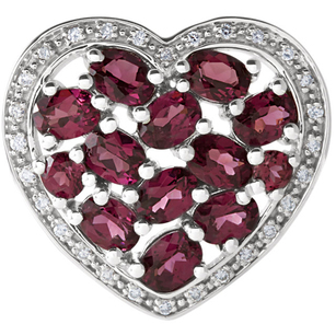 Beautiful Brazilian Garnet Heart Pendant With 2.51ct 13 Round (2.5-2.75mm) & Oval (4x3mm) Gems - Halo Diamond Frame - FREE Chain