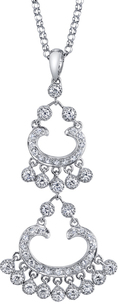 Gorgeous Dangling Diamond Tiered Chandelier Pendant in 18kt White Gold