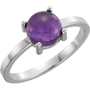 Classic 4-Prong 4.5ct 7mm AA Grade Round Cabochon Amethyst Fashion Ring - Metal Type Options