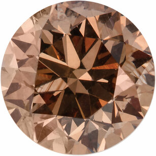 Round Cut Cognac Diamond Natural Color SI