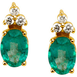Royal Vibrant Green 4.00 x 2.00 mm .8ct Emerald Earrings set in 14 karat Yellow Gold for SALE - Triple Diamond Crown