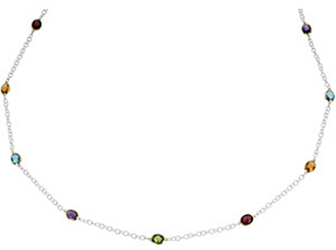 Multicolor 23ct Gemstone Station Necklace set in Sterling Silver and 14 karat Yellow Gold - For SALE