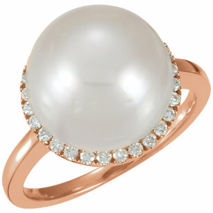 14KT Rose Gold 12mm South Sea Cultured Pearl & 1/3 Carat Total Weight Diamond Ring