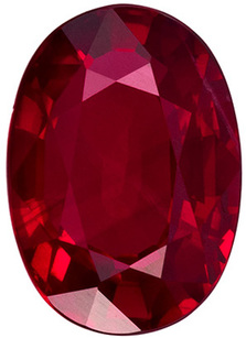 1.49 carats Clean Oval Cut Ruby Loose Gem in Rich Red Color, 7.9 x 5.6 mm