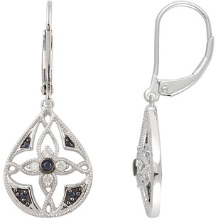 Exquisite Open Pear Frame Leverback Dangle Earrings With Unique Design -  .1ct 1-1.6mm Blue Sapphire & Diamonds - SOLD
