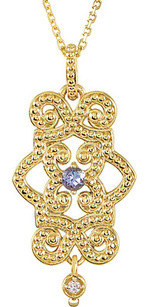 On Trend Granulated 14k Yellow Gold Ornate Pendant With 2.75mm Tanzanite Center & Diamond Dangle - FREE Chain Included