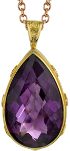 Bold 18kt Yellow Gold 77.55ct Pear Shape Bezel Set Amethyst Gemstone Pendant - 8 Round Blue Sapphire Accents