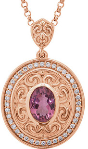 Snazzy Statement Pendant - 14k Rose Gold Medallion Pendant With 1.35ct 8x6mm Pink Tourmaline Oval Center & Diamond Accents