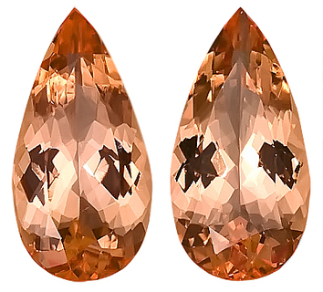 Beautiful Peachy Pink Imperial Brazilian Topaz Genuine Gemstones, Well Matched- Perfect for Earrings!   Pear Shape, 4.32 carats - SOLD