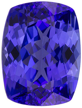 Sharp Tanzanite Loose Gemstone in Cushion Cut, Rich Blue, 9.8 x 7.3 mm, 2.98 carats