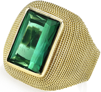 Italian Made Chunky 4ct Emerald Cut Green Tourmaline Gemstone Ring With Rope Style Detailing