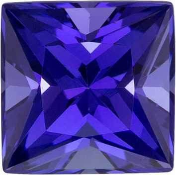 Rare Color & Cut Tanzanite Gem in Princess Cut, 5.8 mm, 1.33 carats