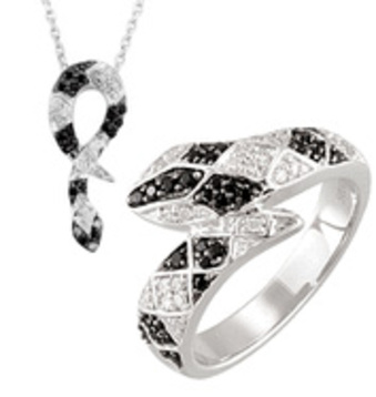 Sterling Silver Snake Spinel and Diamond Matching Ring and Pendant. Save 10% on Entire Set. - SOLD
