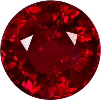 Fine Color Ruby Loose Gem in Round Cut, Vivid Pure Red, 6.3 mm, 1.41 carats