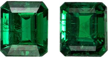 Matched Pair Emeralds in Vivid Rich Green Color, 5 x 4.3 mm, 1.06 carats