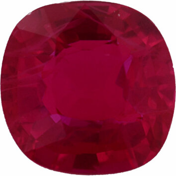 Top Quality Loose Ruby Gem in Antique Square Cut, Deep  Red Color, 6.48 x 6.41 mm, 1.45 carats
