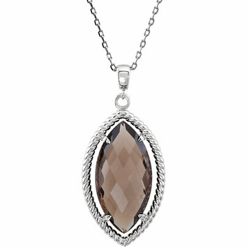 Sterling Silver Marquise Shaped Smoky Quartz Rope-Styled 18