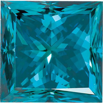 Princess Shape Enhanced Blue Diamond SI Clarity, 5.10 mm in Size, 1.01 Carats