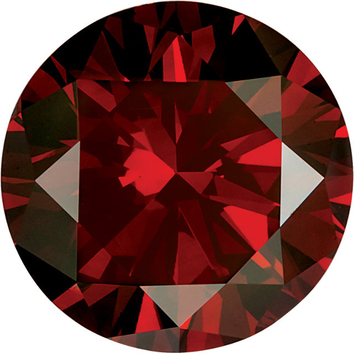 Faceted Top Quality Standard Size Round Shape Enhanced Red Diamond SI Clarity, 3.40 mm in Size, 0.15 Carats