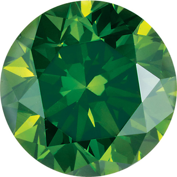 Round Shape Enhanced Deep Green Diamond SI Clarity, 3.80 mm in Size, 0.2 Carats