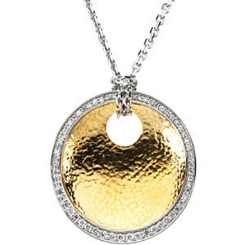 Striking 2-Tone 14k White and Yellow Gold Textured Circle Pendant with a .38ct Diamond Outline - FREE Chain - SOLD