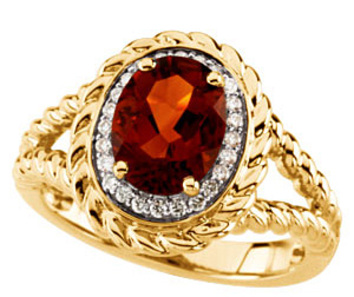 Exquisite Intriguing Port Colored 2.45ct 10x8mm Madeira Citrine & Diamond Ring in 14 kt Yellow Gold - SOLD