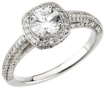 Cathedral Style Accented 14 Karat White Gold 1 3/4 Carat Total Weight Diamond Halo-Style Engagement Ring
