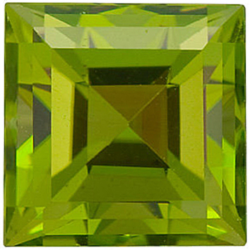 Grade AAA - Step Square Cut Peridot 3.00 mm to 6.00 mm