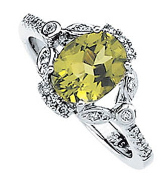 Detailed Attractive Genuine 2.17ct 8x6mm Oval GEM Grade Peridot and Diamond Ring in 14 karat White Gold