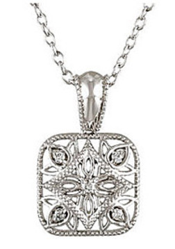 Intricate Square Style Sterling Silver Medallian Pendant With 5 .05ct Diamond Accents - FREE Chain Included