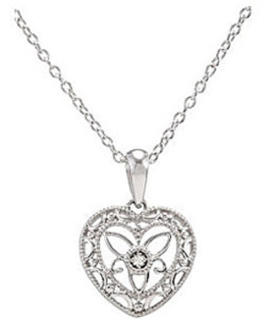 Delicate Sterling Silver Heart Pendant with Single .01ct Diamond Accent - FREE Chain Included