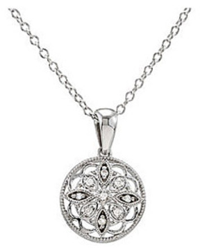 Pretty Medallian Style Sterling Silve Pendant with .05cts of 9 Sparkling Diamond Accents - FREE Chain Included