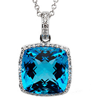 Sparkling 8.5ct 12mm Square Cushion Swiss Blue Topaz & Diamond Necklace set in 14 karat White Gold - Free Chain