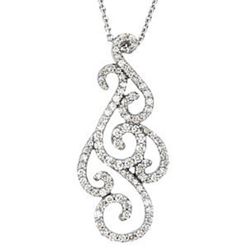 Finely Crafted Curly Swirly 3/4ct Diamond Studded Pendant - Choose 14kt White or Rose Gold - FREE Chain
